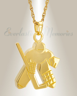 Gold Plated Hockey Player Cremation Locket
