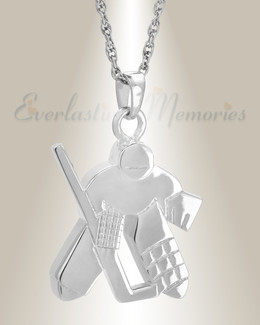 14k White Gold Hockey Player Urn Locket