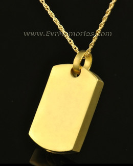 14k Gold Simple Rectangle Urn Pendant