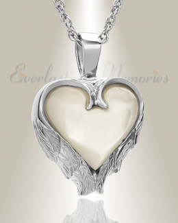 14k White Gold Innocent Heart Memorial Locket