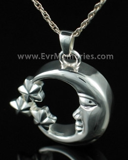 Sterling Silver Moon and Stars Cremation Pendant