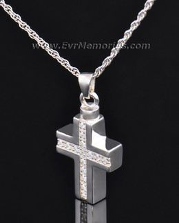 Sterling Silver Brilliant Cross Keepsake Locket