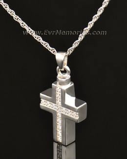 14k White Gold Brilliant Cross Keepsake Locket
