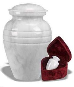 White Grain Marble Urn