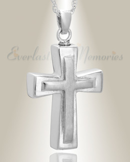 Sterling Silver Double Cross Cremation Charm