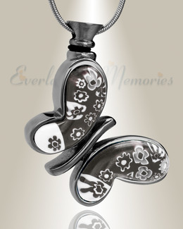 Black Plated Majestic Butterfly Cremation Jewelry