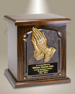 Praying Hands Wood Cremation Urn