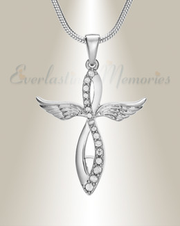 Silver Splendor Cross Urn Pendant