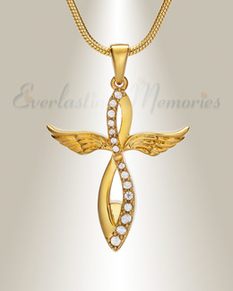 Gold Splendor Cross Urn Pendant
