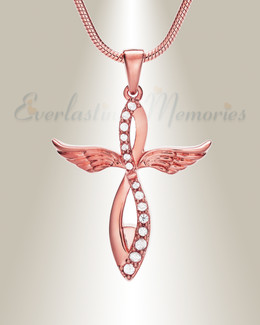 Rose Gold Splendor Cross Urn Pendant