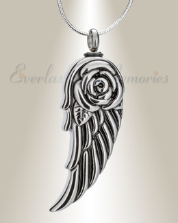 Stainless Winged Flower Urn Pendant