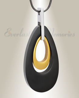 Black and Gold Drop Of Hope Cremation Jewelry