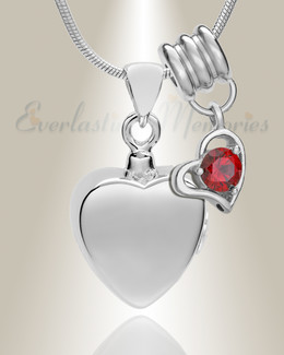 Silver January Simple Heart Urn Jewelry