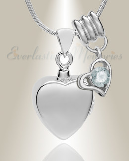 Silver April Simple Heart Urn Jewelry