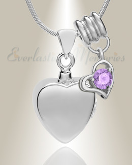 Silver June Simple Heart Urn Jewelry