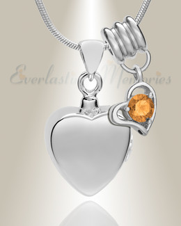 Silver November Simple Heart Urn Jewelry