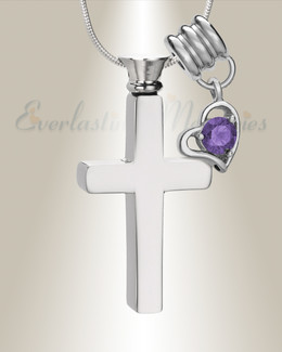 February Remembrance Cross Locket Necklace