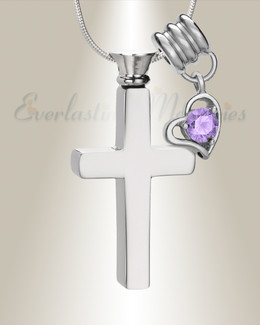 June Remembrance Cross Locket Necklace