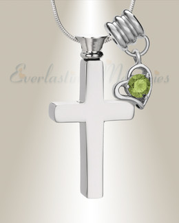 August Remembrance Cross Locket Necklace