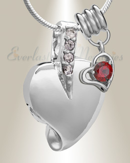 Silver January Heavenly Heart Cremation Jewelry