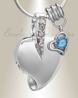 Silver December Heavenly Heart Cremation Jewelry