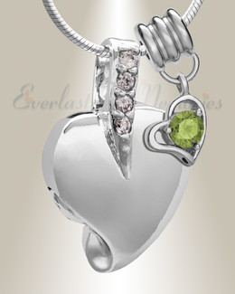 Silver August Heavenly Heart Cremation Jewelry