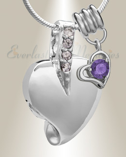 Silver February Heavenly Heart Cremation Jewelry