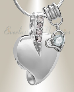 Silver April Heavenly Heart Cremation Jewelry