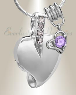 Silver June Heavenly Heart Cremation Jewelry