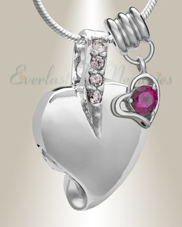 Silver July Heavenly Heart Cremation Jewelry