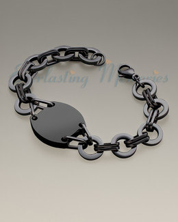 Black on Black Plated Stainless Valiant Bracelet Cremation Jewelry