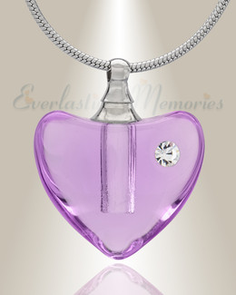 Glass Locket Violet Heartfelt Cremation Jewelry