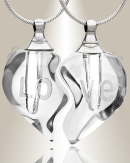 Glass Locket Clear Partnership Heart Cremation Jewelry