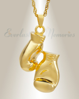 14K Gold Boxing Necklace Urn