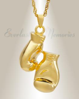 14K Gold Boxing Necklace Urn