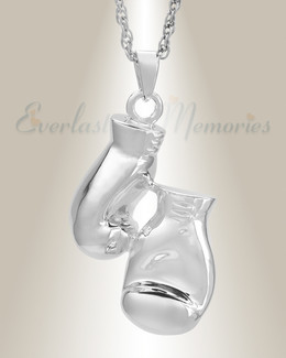 White Gold Boxing Cremation Necklace