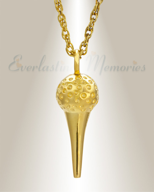 14 karat gold golfers tee and golf ball jewelry urn 14k gold golf tee memorial pendant aloadofball Image collections