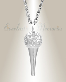 White Gold Golf Tee Cremation Jewelry