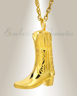 14K Gold Boot Cremation Jewelry