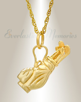 14K Gold Golf Clubs Cremation Jewelry