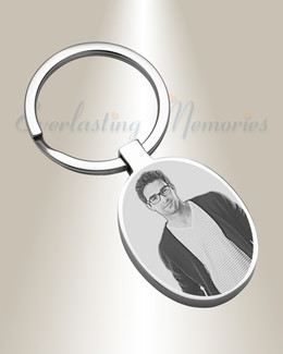 Circles Stainless Steel Photo Engraved Keychain