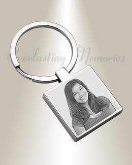 Stainless Steel Boxed Photo Engraved Keychain