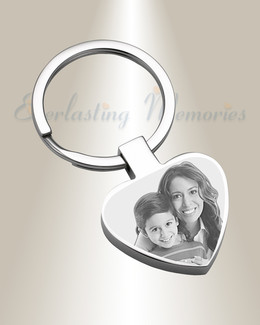 Full Heart Stainless Steel Photo Engraved Keychain
