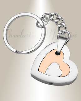 Rose Gold and Stainless Honesty Heart Cremation Keychain