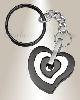 Black and Stainless Sincere Heart Cremation Keychain