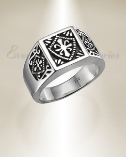 Sterling Silver Crowned Cremation Ring