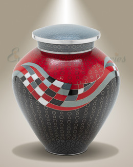 Red Art Deco Cremation Urn