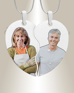 Two Color Photo Engraved Heart Silver Pendant