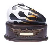 Born to Ride Motorcycle Cremation Urn-charcoal/white flame