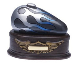"Gas Tank Blue ""Born to Ride"" Motorcycle Cremation Urn Silver Flame"